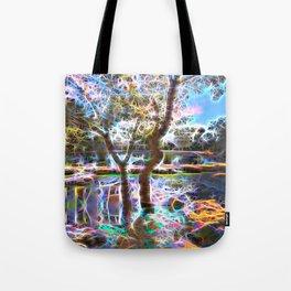 Trees Pond and Light Streams Tote Bag