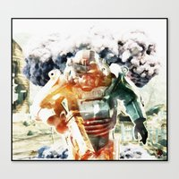 fallout 3 Canvas Prints featuring Fallout Mechanic Soldier by SuperKingLeo