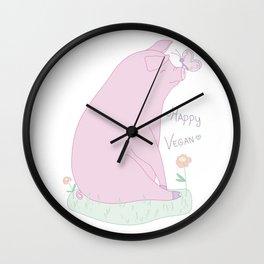 Happy Vegan! Wall Clock