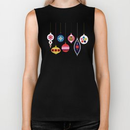 Retro Christmas Baubles on a dark background Biker Tank