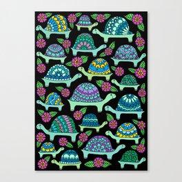 Tortoises Black Canvas Print