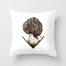 Morchella esculenta - the common morel Throw Pillow