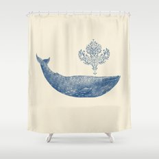 The Damask Whale  Shower Curtain
