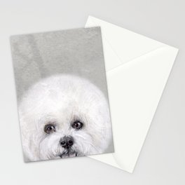 Bichon illustration, Dog illustration original painting print Stationery Cards