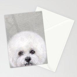 Bichon illustration, Dog illustration original painting print Stationery Cards