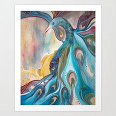 Peacock with gears Art Print