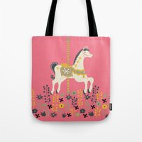 carousel Tote Bags featuring Carousel by Prelude Posters