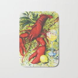 Lobster and Wine Bath Mat