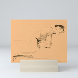 'Slumber' Sleeping Nude Woman Figure Drawing Mini Art Print