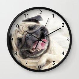 Smiling pug.Funny pug Wall Clock