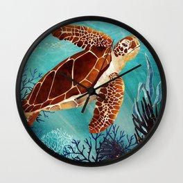 Metallic Sea Turtle Wall Clock