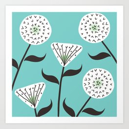 Large Print Dandelion Seeds Spring Summer Pattern Art Print