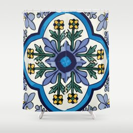 Talavera Mexican tile inspired bold design in blues, greens, and yellows Shower Curtain