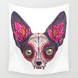 Día de los Muertos - Sugar Skull Cat Wall Tapestry