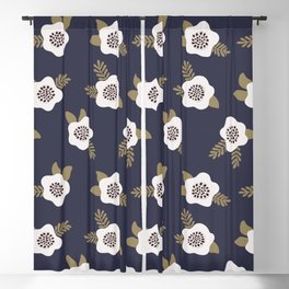 Floral seamless pattern White and gold flowers on blue Blackout Curtain