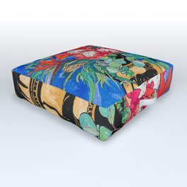 Tropical Protea Bouquet with Toucans in Greek Horse Urn on Ultramarine Blue Outdoor Floor Cushion