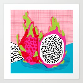 Hard Core - memphis throwback retro neon tropical fruit dragonfruit exotic 1980s 80s style pop art Art Print