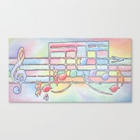 music notes Canvas Prints featuring Music Notes by Rick Borstelman