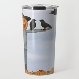 scarecrow and crows in the pumpkin patch Travel Mug