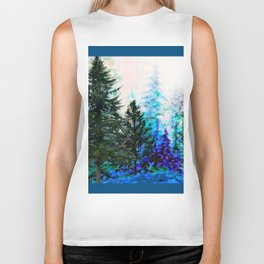 TEAL COLOR  MOUNTAIN  PINE FOREST LANDSCAPE Biker Tank