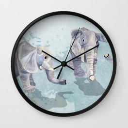 Elephants In Blue Wall Clock