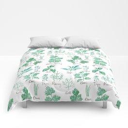 green herbs family watercolor Comforters