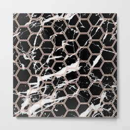 black marble with rose gold hexagons Metal Print