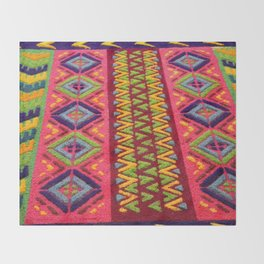 Colorful Guatemalan Alfombra Throw Blanket