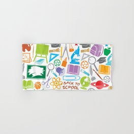 education and school icons background (seamless pattern) Hand & Bath Towel