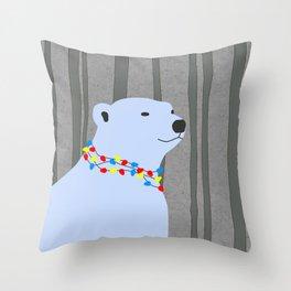 Polar Bear Holiday Design Throw Pillow