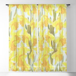 Spring Breeze With Yellow Flowers #decor #society6 #buyart Sheer Curtain