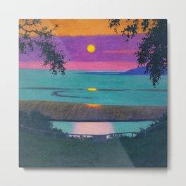 Sunset at Grace, Orange and Violet Sky landscape by Felix Vallotton Metal Print