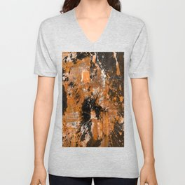 Rusting Darkness - Abstract in gold, black and white Unisex V-Neck