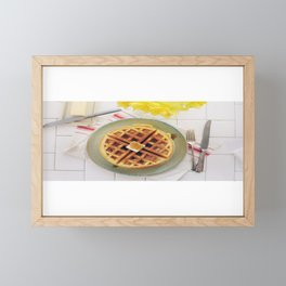 Warm Waffles with Butter and Syrup Framed Mini Art Print