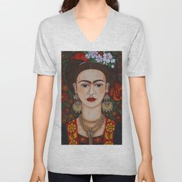 Frida with butterflies Unisex V-Neck