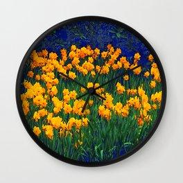GOLDEN DAFFODILS PURPLE-GREEN GARDEN Wall Clock