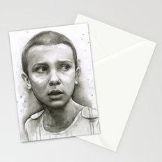 Stranger Things Eleven Portrait Upside Down Stationery Cards