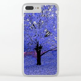 Trees Blue Purple Clear iPhone Case