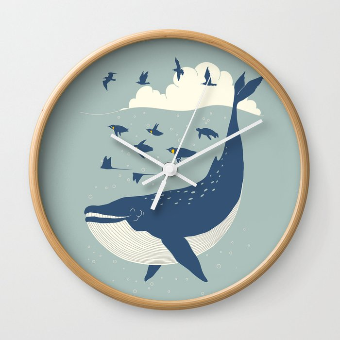 Fly in the sea Wall Clock