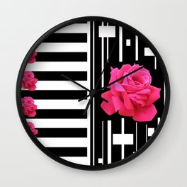 MODERN ABSTRACT PINK ROSES WHITE-BLACK ART Wall Clock