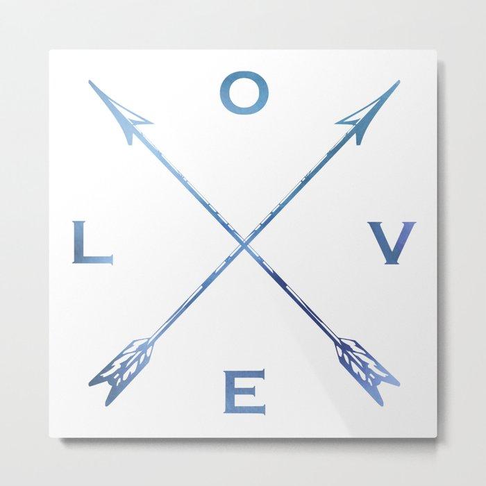 Watercolor Love Arrows Blue Metal Print