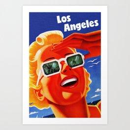 Retro Los Angeles California Travel Poster Art Print