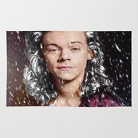 harry styles Area & Throw Rugs featuring Harry Styles Christmas by girllarriealmighty