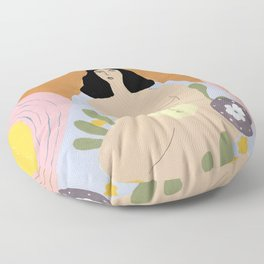 Taking care of the moon Floor Pillow