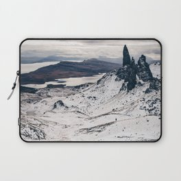 Old Man of Storr wrapped up in a blanket of snow Laptop Sleeve