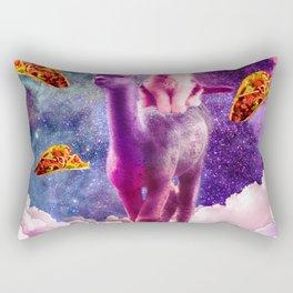 Cosmic Cat Riding Alpaca Unicorn Rectangular Pillow