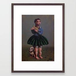 Girl with Giant Birne Framed Art Print