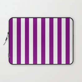 Narrow Vertical Stripes - White and Purple Violet Laptop Sleeve