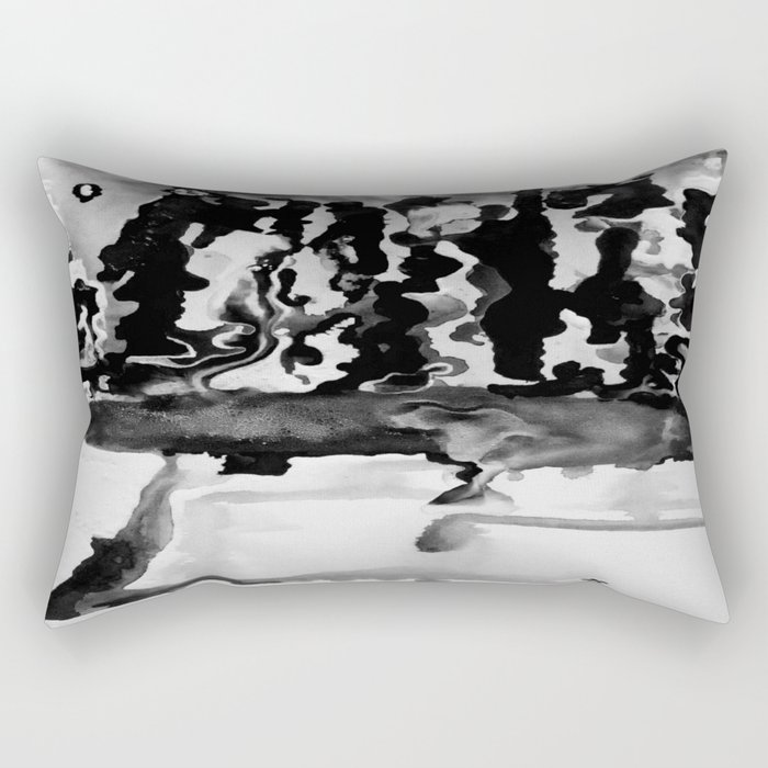 Dripping Tease in Black and White Rectangular Pillow