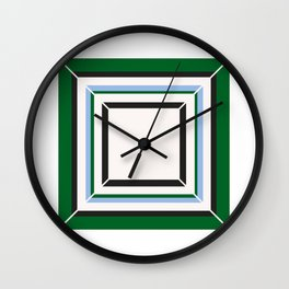 Green Blue And White Tile Wall Clock